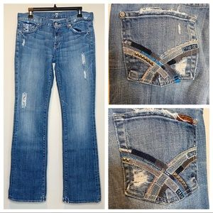 7FAMK Distressed Crystal Colorblock Bootcut Jeans